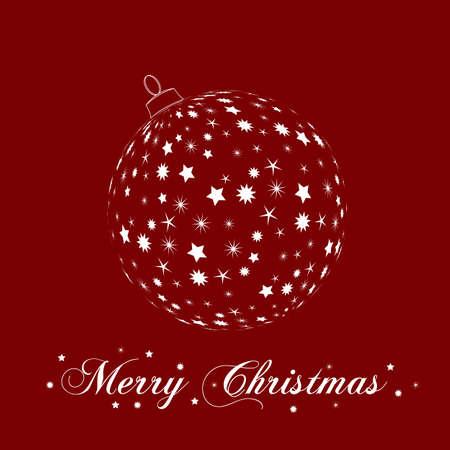 weihnachtsbaum: Weihnachtsbaumkugel aud rotem Hintergrund Illustration