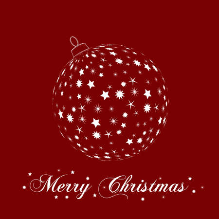 rotting: Weihnachtsbaumkugel aud rotem Hintergrund Illustration