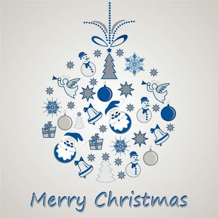 kugel: Weihnachtskugel bestehend aus mehreren Weihnactssymbolen