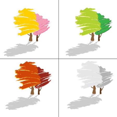 kunst: Illustration - vier Jahreszeiten
