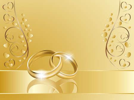 Trauringe auf goldenem Hintergrund