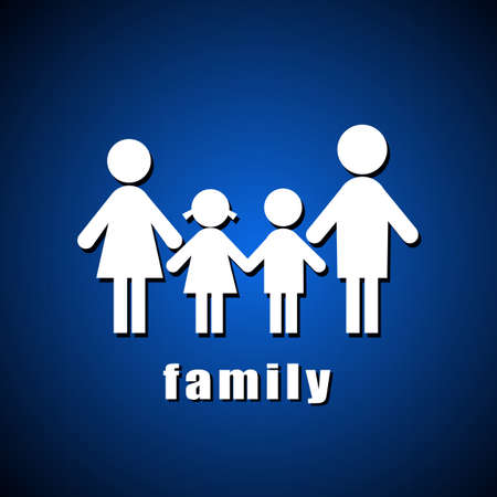 abstract family: family sign over blue