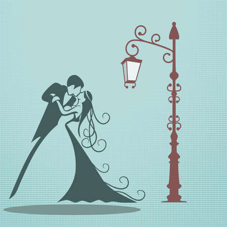 bride and groom background: wedding kiss