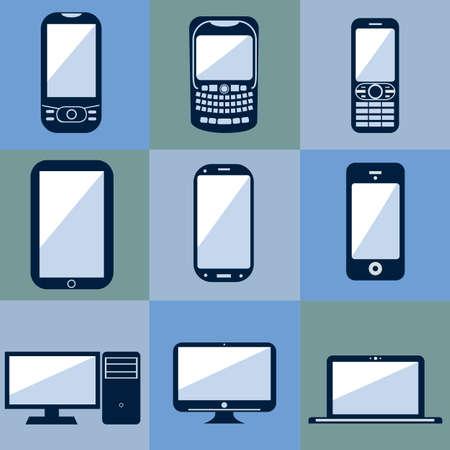 set of smartphones and hardware Stock Vector - 17337399