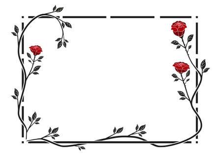 빨간 장미와 프레임 일러스트