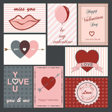 set of eight vintage valentine cards Illustration