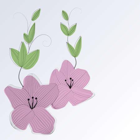 handdrawn 꽃과 잎 빈티지 꽃 카드