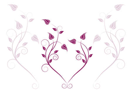 Floral heart with swirls Stock Vector - 17685345