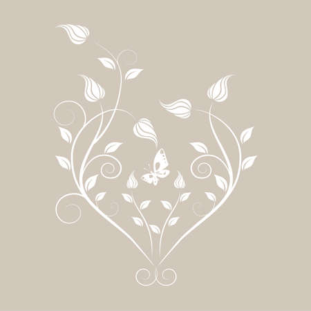 floral wedding heart Illustration
