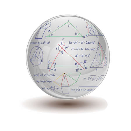 mathematical proof: Crystal sphere with mathematical formulas