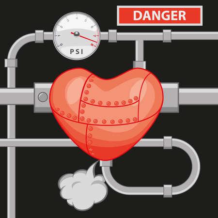 physical pressure: high blood pressure Illustration