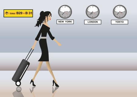 business traveller: business woman at the airport Illustration