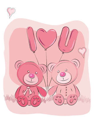 stuffed animals: cute teddy bears with balloons Illustration