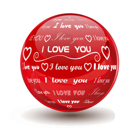 red sphere with the words  i love you  Ilustracja