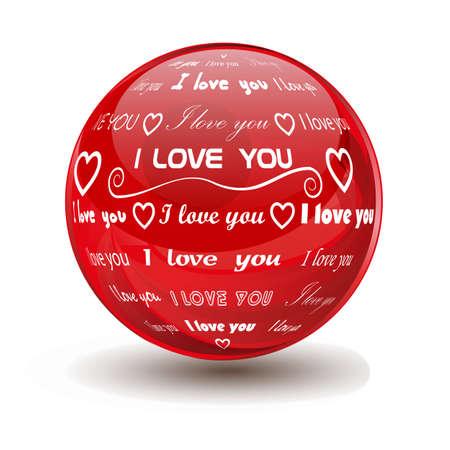 red sphere: sfera rossa con le parole ti amo