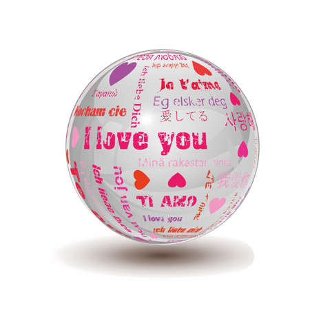 glossy sphere with the words i love you