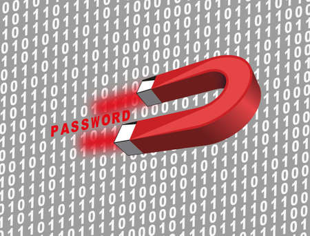 spy ware: password with magnet Illustration