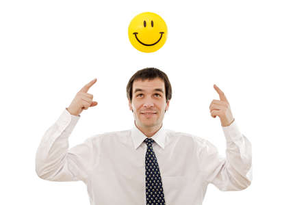 Businessman with smiley sign - concept of positive thinking