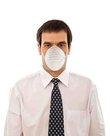 Businessman wearing protective face mask - isolated Stock Photo