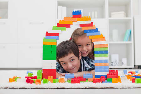 Happy children playing with blocks Stock Photo - 16971093
