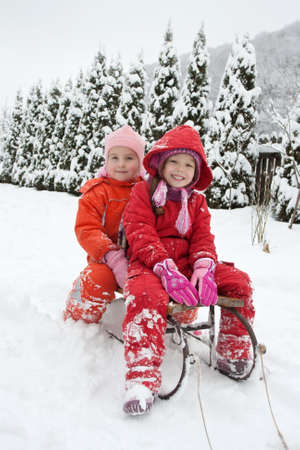 Happy little girl are on the sledge