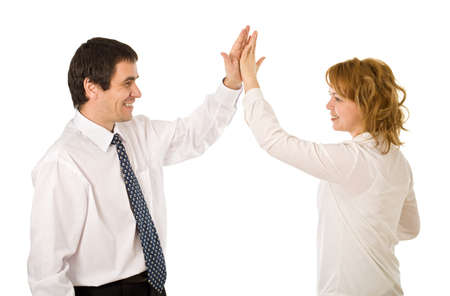 Happy business people celebrating their success - isolated Stock Photo
