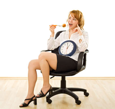 Young beautiful businesswoman is in lunch-time - isolated Stock Photo