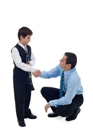 congratulating: Father congratulate to his successful son