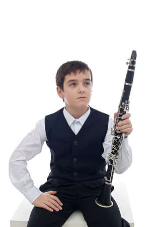 Little clarinet player take a rest Stock Photo