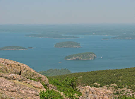 Top of Cadillac Mountain, Mount Desert Island, Acadia National Park, Maine, New England. Stock Photo