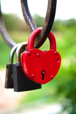 door lock love: love forever - padlocks on the bridge Stock Photo