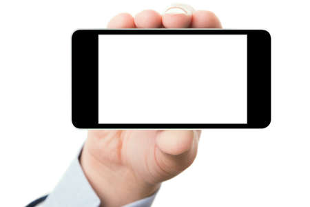 Blank touch screen of smart phone in a hand, isolated white background Stock Photo - 13910172
