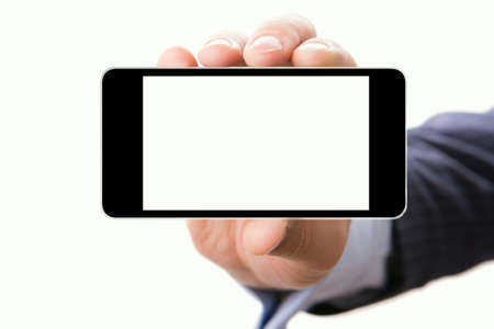 Blank touch screen of smart phone in a hand, isolated white background photo