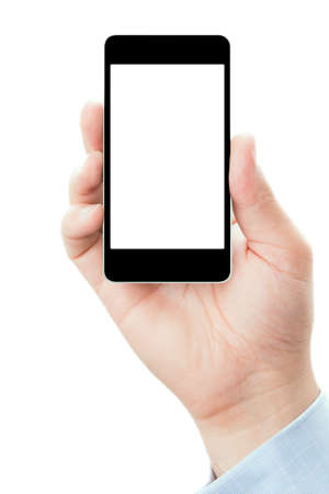 Blank touch screen of smart phone in a hand, isolated on white background in vertical position photo