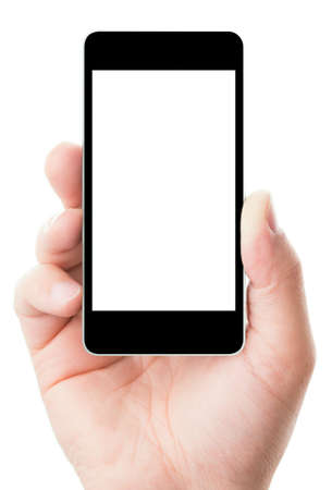 Blank touch screen of smart phone in a hand, isolated on white background in vertical position Stock Photo - 13910180