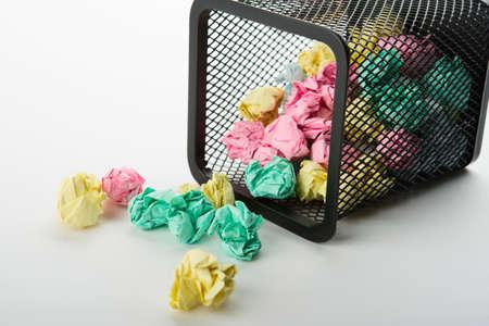 wastepaper: Garbage bin with paper waste Stock Photo