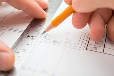 drafting: architect in process Stock Photo