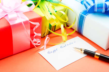 Congratulating on a birthday  Gift Boxes  photo