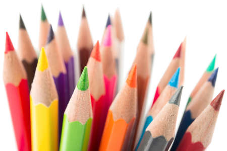 descriptive colours: Color pencils, close up .