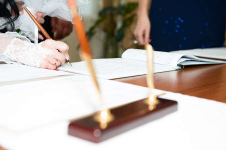 marriage certificate: bride signature Stock Photo