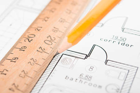 Drafting Tools and blueprint . Pencil etc. Stock Photo - 15991813