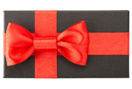 Black gift box with red bow, isolated on white background photo