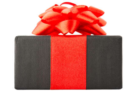 goodie: Black gift box with red bow, isolated on white background Stock Photo