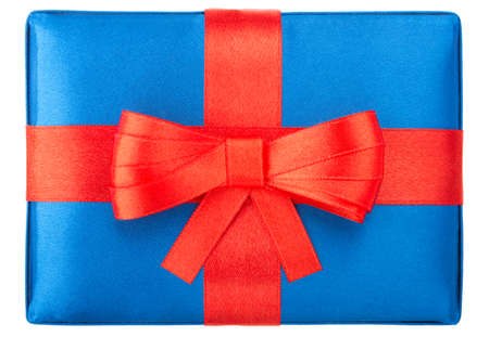 blue gift box: Blue gift box with red bow, isolated on white background