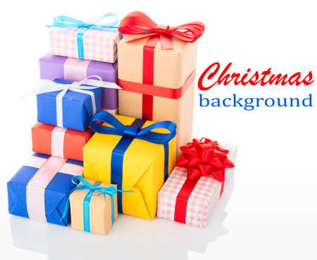 goodie: Christmas background. Gift boxes isolated on white background