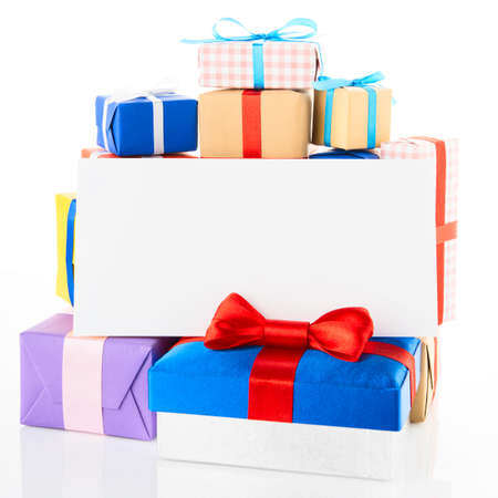 gift boxes with greeting card isolated on white background photo