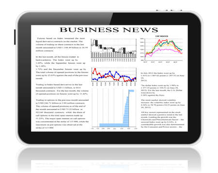 tablet pc with business news on screen  photo