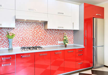 Kitchen red and white colors Stok Fotoğraf