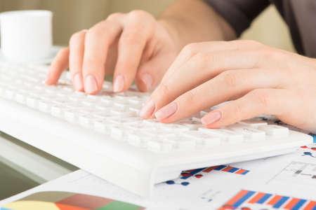 del secretario: Al escribir en el teclado. Manos de la mujer, vista cercana