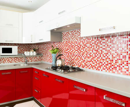 Kitchen red and white colors Standard-Bild